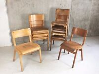 Set of 10 mixed Vintage mid century industrial bentwood stacking school cafe dining chairs