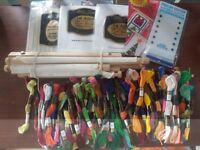 Assorted silks, aida embroidery frame,etc