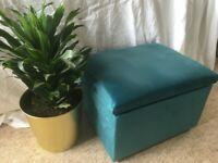 Upcycled small pouffe/footstool in plush teal velvet with storage