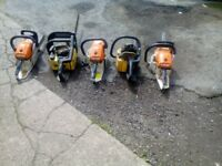 five chain saws for sale all needs work