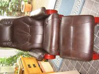 FAUX LEATHER SWIVEL ARMCHAIR AND FOOTSTOOL