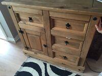 Oak sideboard and x2 bedside tables
