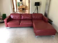 Fabulous leather chaise sofa and armchair