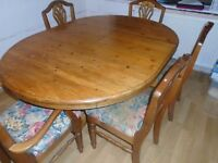 Antique pine extendable Table & 6 chairs good quality