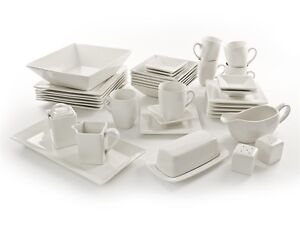 NOVA 40PC SQUARE DINNER SET DINNERWARE PLATE BOWL SIDE DISH SALT PEPPER PLATTER