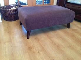 AS NEW BROWN MATERIAL FOOTSTOOL