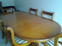 Reproduction Yew Dining Table 6 Chairs Incl 2 Carvers Unmarked Has