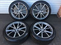 19'' GENUINE AUDI A7 S LINE ALLOY WHEELS TYRES ALLOYS A5 A6 RS4C BLACK EDITION