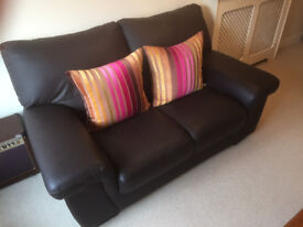 Leather suite, 2-seater sette, armchair and footstool. Reduced for quick sale
