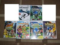 wii games --back row £7 each, front row £4 each sonic secret rings £5) or £40 the lot NO OFFERS