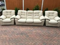 3 pieces leather suite, three seater sofa, couch, settee, single chairs (free local delivery🚚🚚🚚