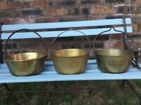 VINTAGE BRASS COOKING POTS, SOLID HEAVY ANTIQUES, HANGING KITCHEN DECORATION, PLANTERS, JAM POTS