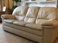 3 Seater Leather Sofa Cream