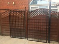 6ft Wrought Iron Metal newly painted with black Hammerite Driveway Gates