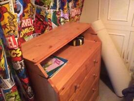 Solid pine chest of drawers with built in baby change table (collection from Oakham)