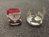 """2 Christmas Candle Holders. 3"""" high approx."""