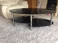 Cara oval black glass coffee table with stainless steel legs