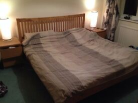 Superkingsize Wooden Honey Oak Bed