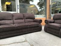 Brown fabric 3 seater and arm chair