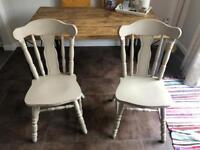 Pair of solid antique farmhouse chairs