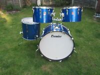"Drums - Premier Elite Drum Kit - 24"" Bass - Polychromatic Blue - Mahogany - May Split"