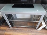 Scotia White Frosted and Glass TV Stand Up To 60in TV