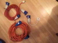 25 metre and 10 metre Caravan Hook up Extension Cable 3pin Mains and Mains hook up adaptors