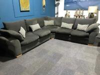 Large grey fabric corner sofa