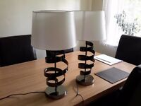table lamp, stand lamp, set two, white and black, modern