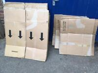 16 Large & 6 Small Cardboard Packing Boxes for moving house, storage, removals