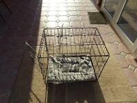 Puppy crate 60cm wide x 42cm deep x 50cm high with fleecy mat