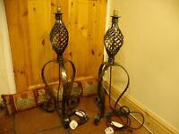 """Pair of Heavy Wrought Steel Lamps 30 """" tall."""