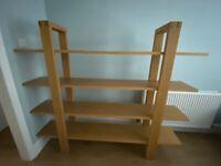 Solid Oak Free Standing 4 Shelf Open Unit