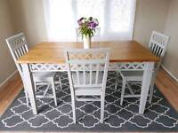 Pine dining table 4 chairs grey shabby chic