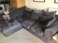 Comfy Corner Sofa £130 ONO - dark grey soft velvet