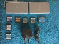 Nintendo ds Lite bundle, 2 units, 1 charger with 7 Games
