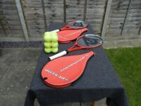 2 x tennis rackets with covers and 12 new tennis balls