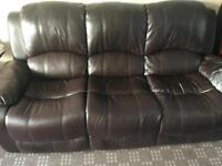 Free Brown 3 seater and arm chair leather couch