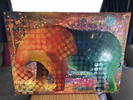 Bespoke Elephant painting by local artist Rouge