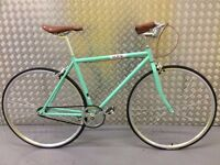 BRAND NEW VINTAGE FIXED GEAR BIKE SINGLE SPEED FREE WHEEL-FIXIE ROAD BIKE -9KG BIANCHI COLOUR