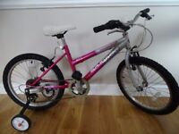 GIRL'S PINK 20 INCH WHEEL BICYCLE WITH STABILISERS