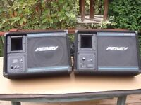 PEAVEY EUROSYS P.A STAGE MONITORS (floor wedge shape) WITH CABLES.