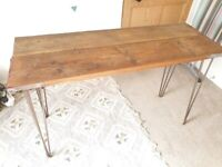 Reclaimed wooden industrial desk with hairpin legs