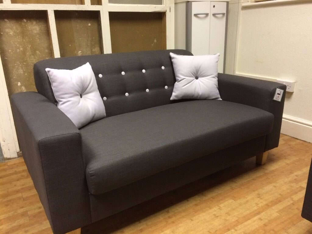 Brand New Healy Grey Fabric 2 Seat Sofa - £149 Including Free Local Delivery