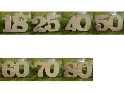 Jubiläum Jahreszahl Geburtstag Hochzeitstag  aus Holz 18, 25, 40, 50, 60, 70, 80
