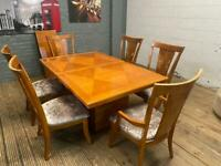 STUNNING MAHOGANY WOODEN DINING TABLE + 8 CHAIRS