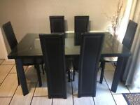 Dining / kitchen table & 6 chairs. Brown leather and glass. £70