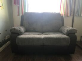 Black and grey 2 seater recliner sofa for sale