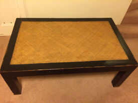 Lovely large Coffee table - wicker top good condition