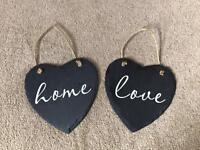 Decorative slate hanging hearts
